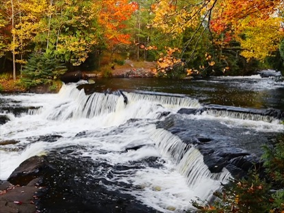 BOND FALLS AND AUTUMN FOLIAGE
