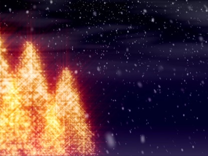 GLEAMING CHRISTMAS TREES AND SNOW