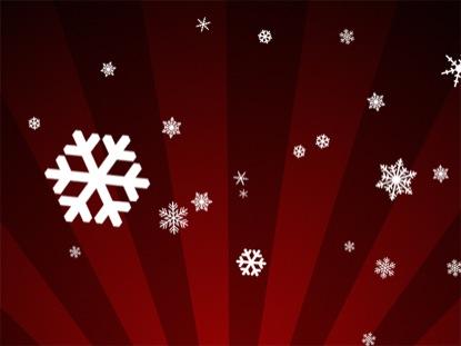 SNOWFLAKES ON RED RADIAL LOOP