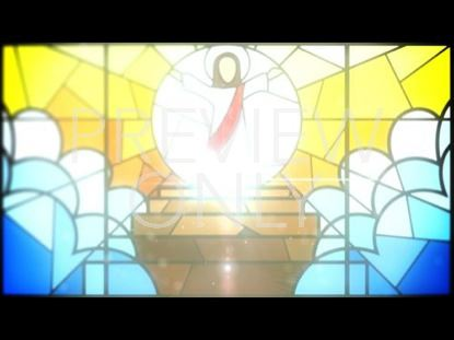 JESUS WITH OPEN ARMS IN STAINED GLASS