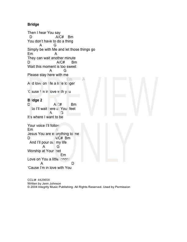 A Little Longer Lead Sheet, Lyrics, & Chords | Jenn Johnson ...