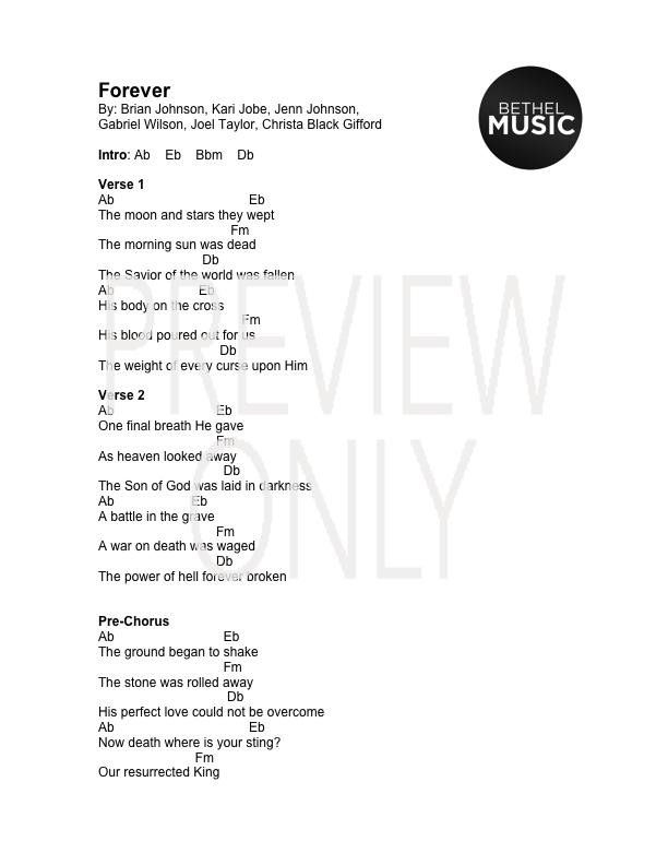 Forever Lead Sheet, Lyrics, & Chords | Bethel Music | WorshipHouse Media
