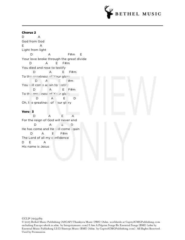 Greatness Of Your Glory Lead Sheet, Lyrics, & Chords | Bethel Music ...