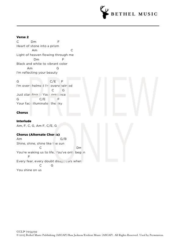 Shine On Us Lead Sheet, Lyrics, & Chords | Bethel Music ...