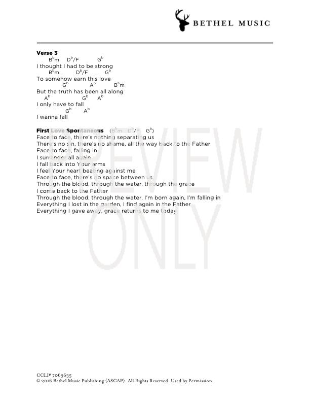 First Love Lead Sheet Lyrics Chords Jonathan And Melissa