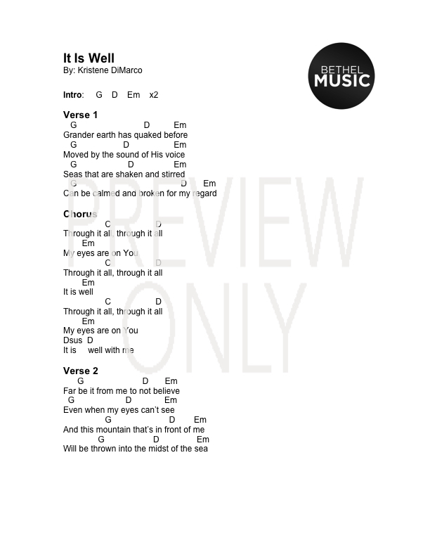 It Is Well Kristene Dimarco Lead Sheet Lyrics Chords