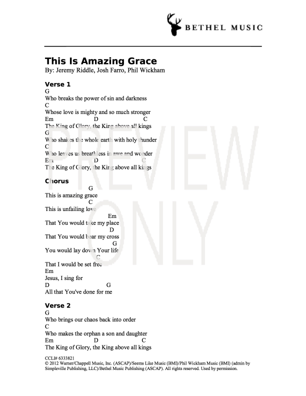 This Is Amazing Grace Lead Sheet, Lyrics, & Chords | Bethel Music ...