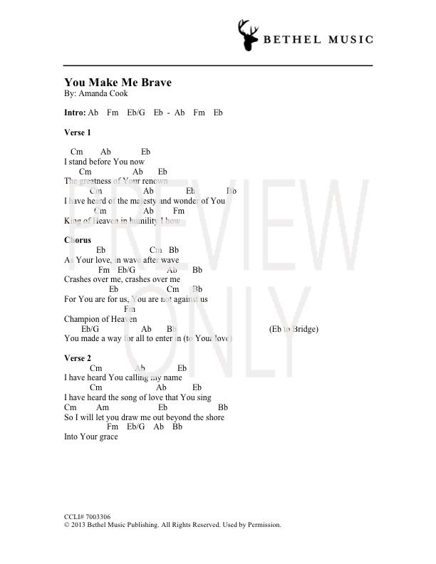 You Make Me Brave Lead Sheet, Lyrics, & Chords | Amanda Cook ...
