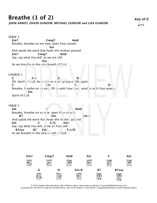 Breathe Lead Sheet, Lyrics, & Chords | Integrity Music