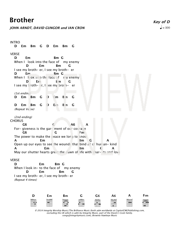 Brother Lead Sheet, Lyrics, & Chords | The Brilliance | WorshipHouse ...