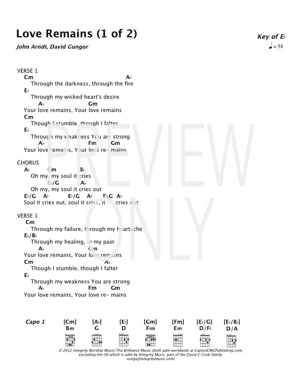 Love Remains Lead Sheet, Lyrics, & Chords | The Brilliance ...