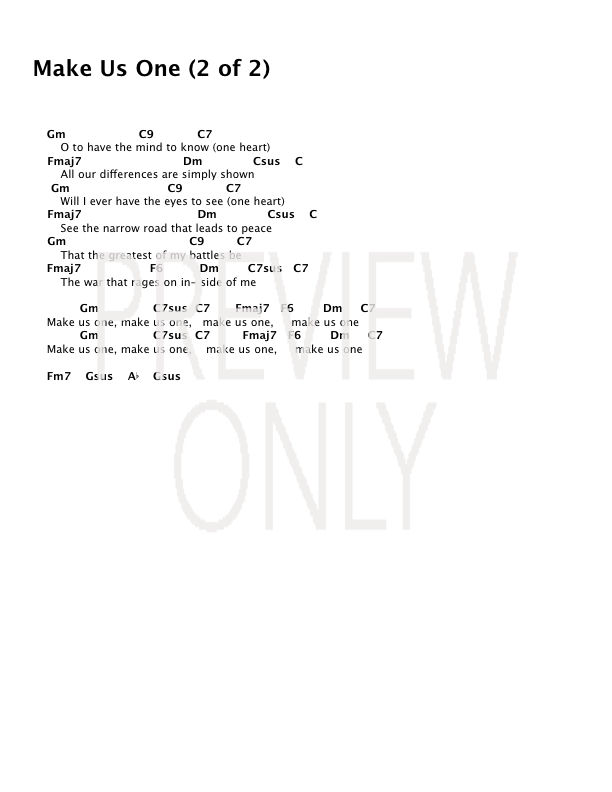 Make Us One Lead Sheet Lyrics Chords The Brilliance