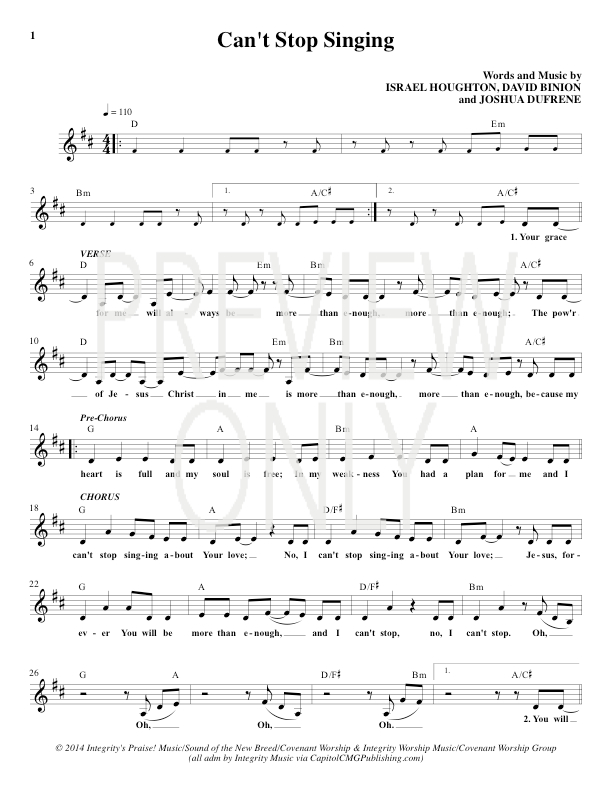Can\'t Stop Singing Lead Sheet, Lyrics, & Chords | Covenant Worship ...