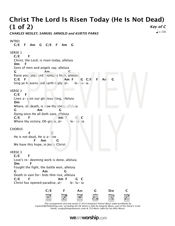 Christ The Lord Is Risen Today He Is Not Dead Lead Sheet Lyrics