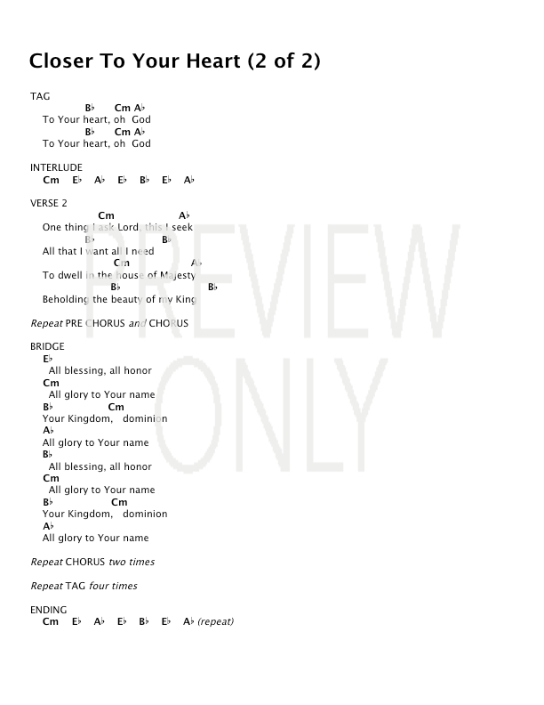 Closer To Your Heart Lead Sheet, Lyrics, & Chords | Desperation Band ...