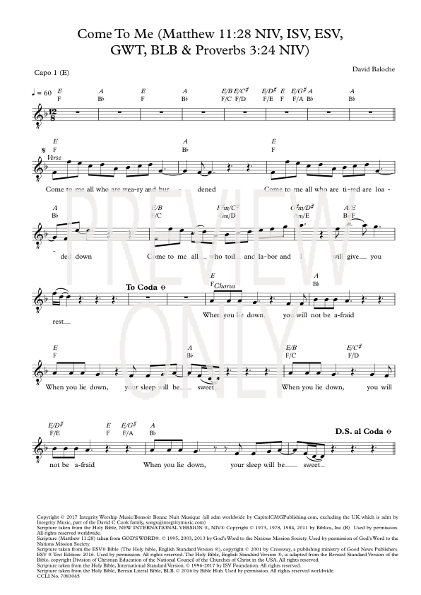 Come To Me Lead Sheet Lyrics Chords David Baloche