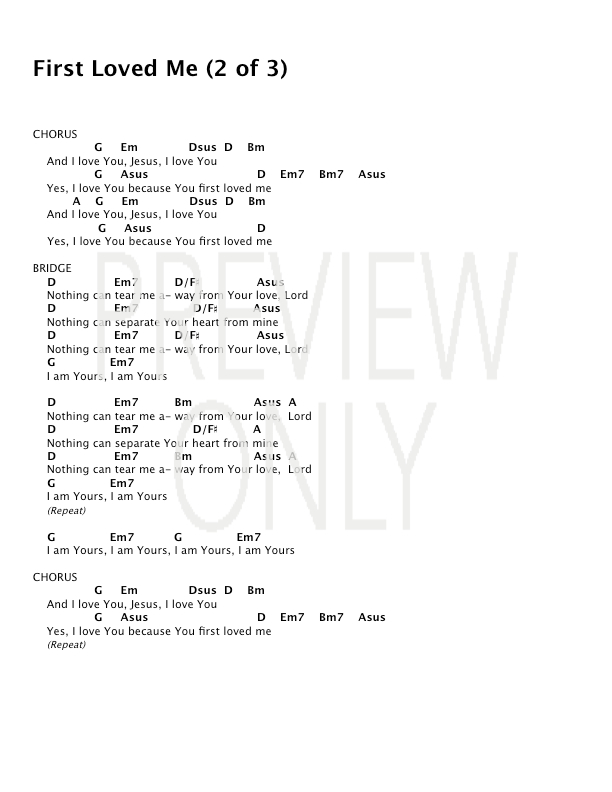 First Loved Me Lead Sheet, Lyrics, & Chords | Covenant Worship ...
