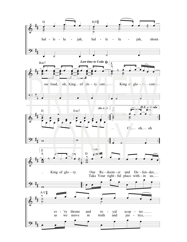 Lyric hallelujah square lyrics : Hallelujah King Of Glory Lead Sheet, Lyrics, & Chords | Dustin ...
