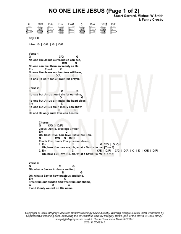 No One Like Jesus Lead Sheet Lyrics Chords Michael W Smith