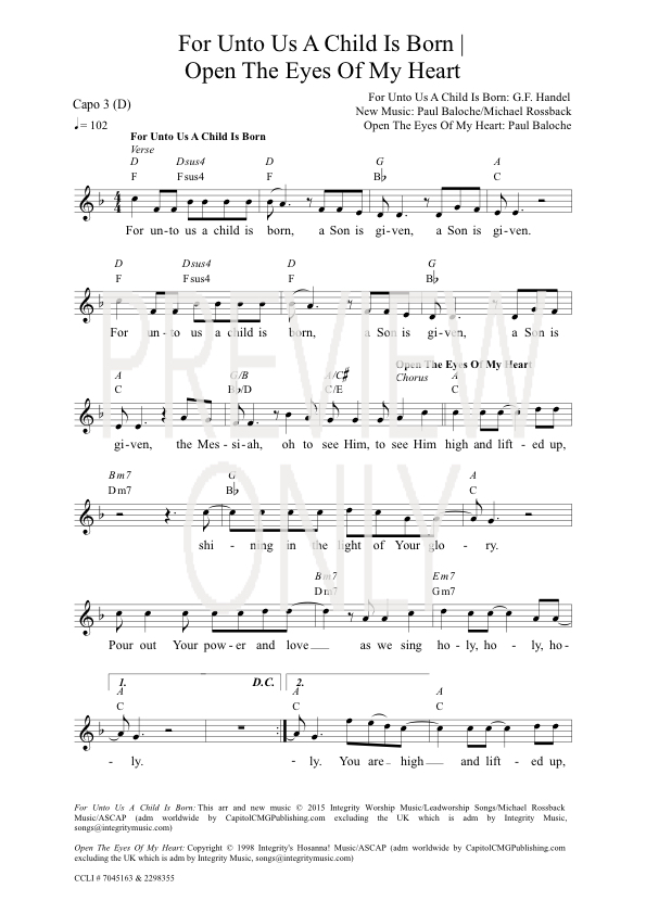 For Unto Us A Child Is Born | Open The Eyes Of My Heart Lead Sheet ...