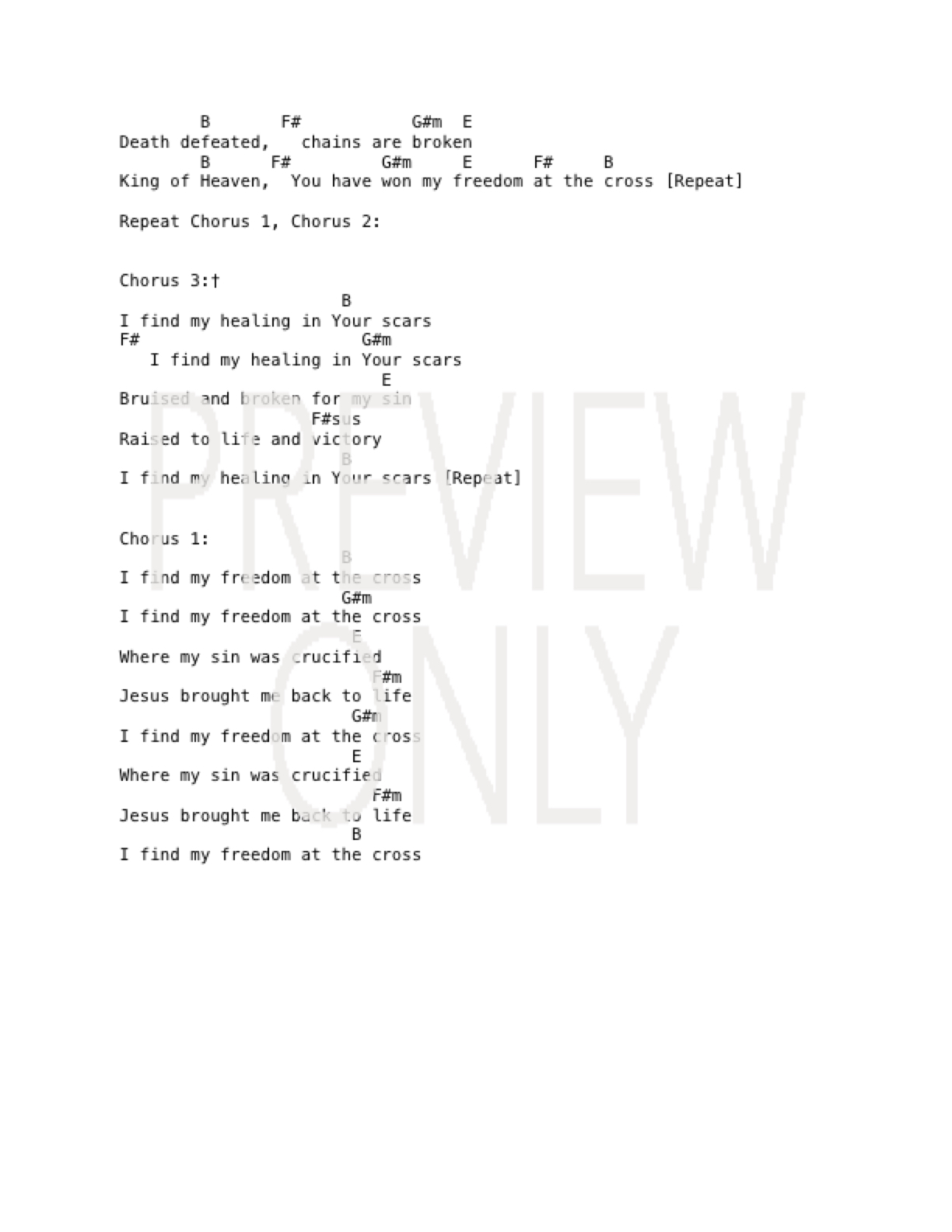 Freedom At The Cross Lead Sheet, Lyrics, & Chords | Life