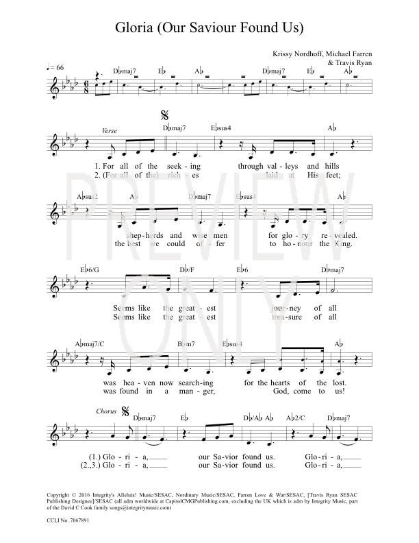 Gloria Our Savior Found Us Lead Sheet Lyrics Chords Darlene