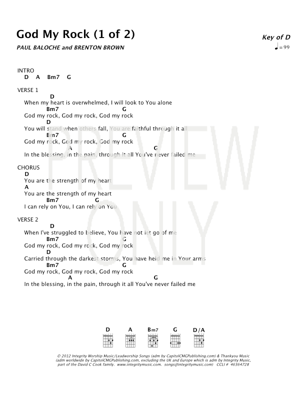 Lyric my rock lyrics : God My Rock Lead Sheet, Lyrics, & Chords | Paul Baloche ...