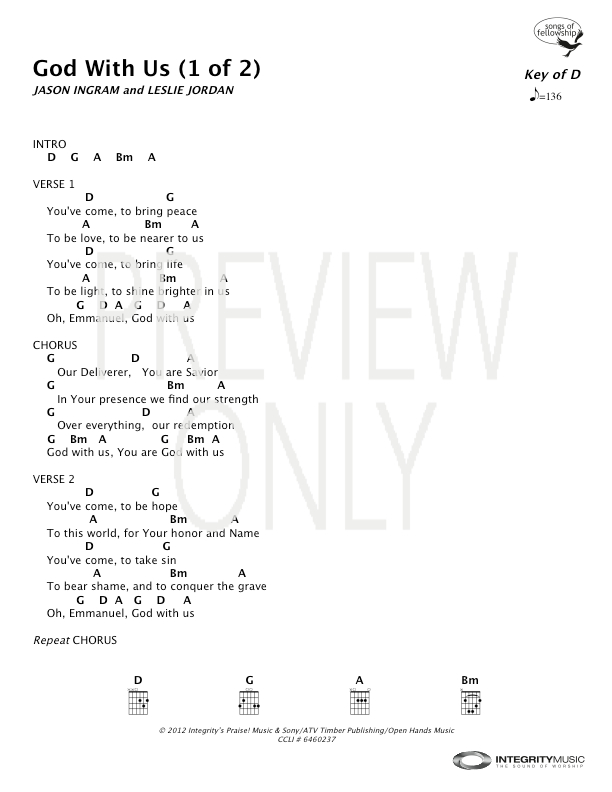 God With Us Lead Sheet, Lyrics, & Chords | All Sons & Daughters ...