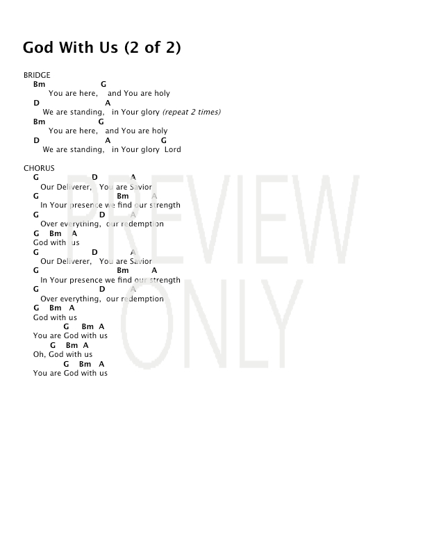 God With Us Lead Sheet Lyrics Chords All Sons Daughters