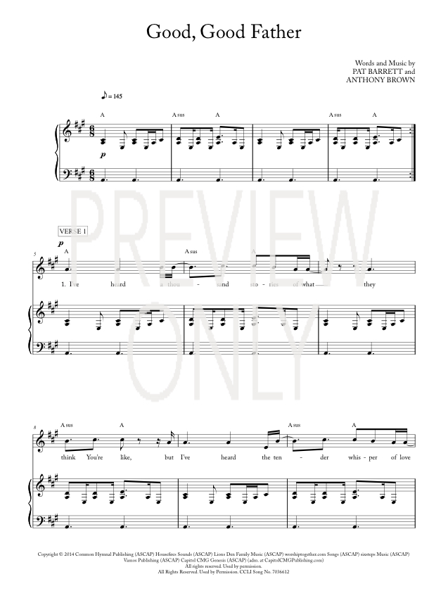 Good Good Father Lead Sheet Lyrics Amp Chords
