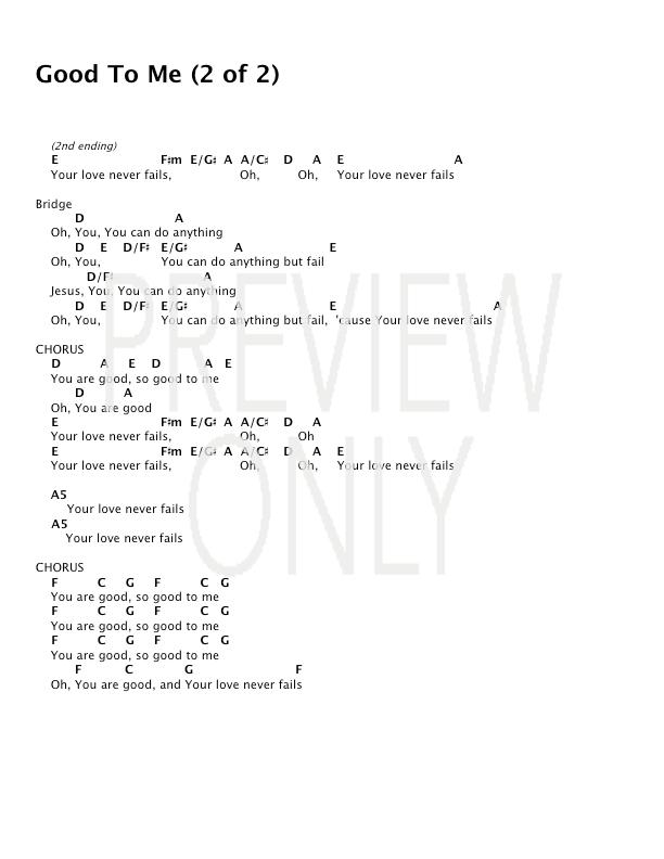 Good To Me Lead Sheet, Lyrics, & Chords | Covenant Worship ...