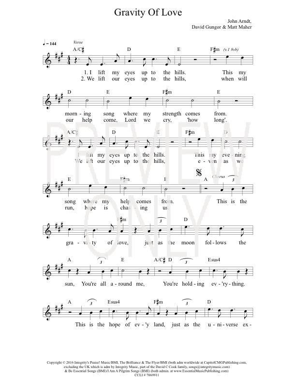 Gravity Of Love Lead Sheet, Lyrics, & Chords | The Brilliance ...