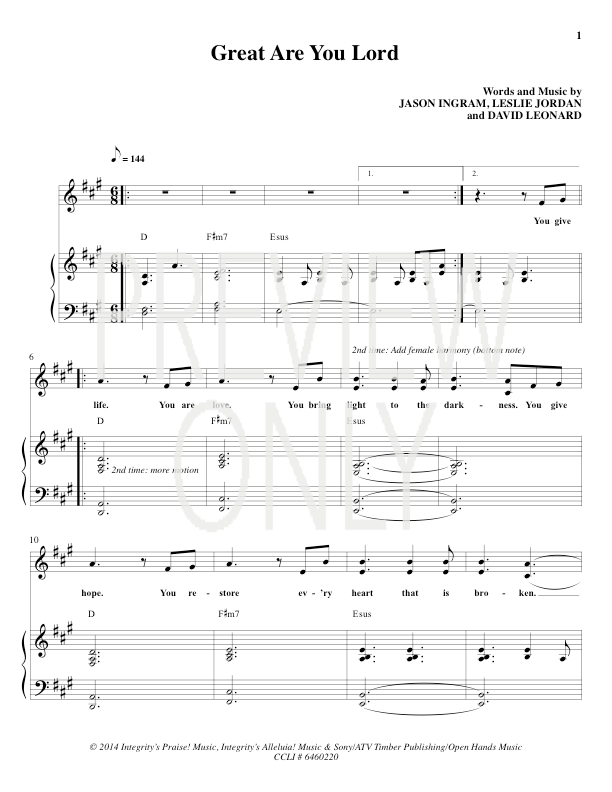 Great Are You Lord Lead Sheet, Lyrics, & Chords | All Sons ...