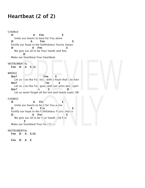 Heartbeat Lead Sheet Lyrics Chords Lincoln Brewster
