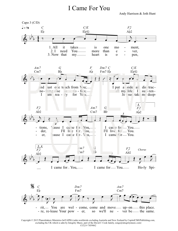 I Came For You Lead Sheet Lyrics Chords Planetshakers