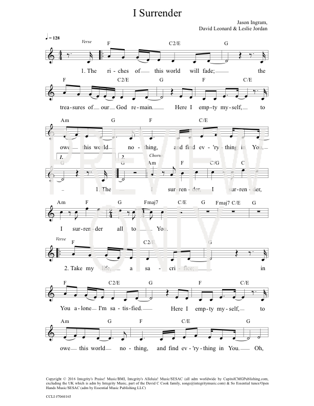 I Surrender Lead Sheet, Lyrics, & Chords | All Sons & Daughters ...