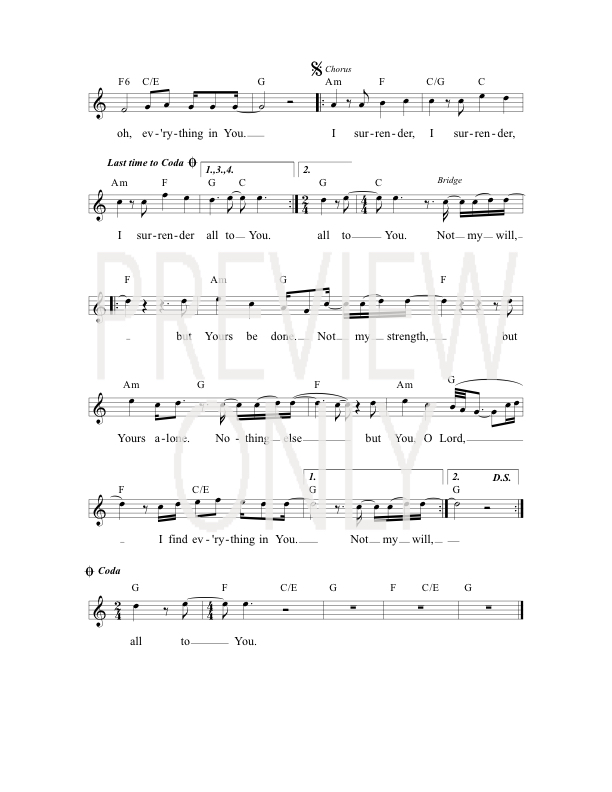 I Surrender Lead Sheet Lyrics Chords All Sons Daughters