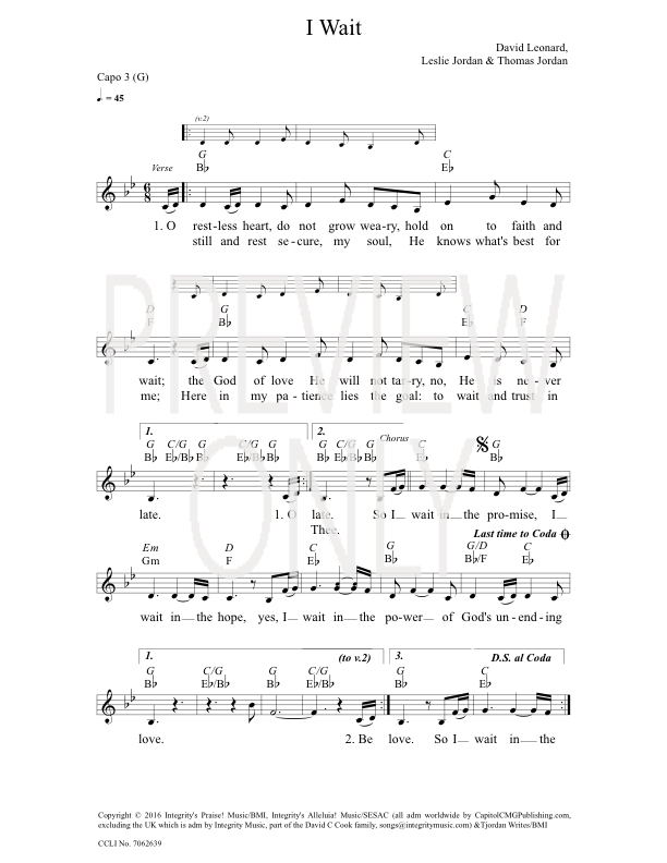 I Wait Lead Sheet, Lyrics, & Chords | All Sons & Daughters ...