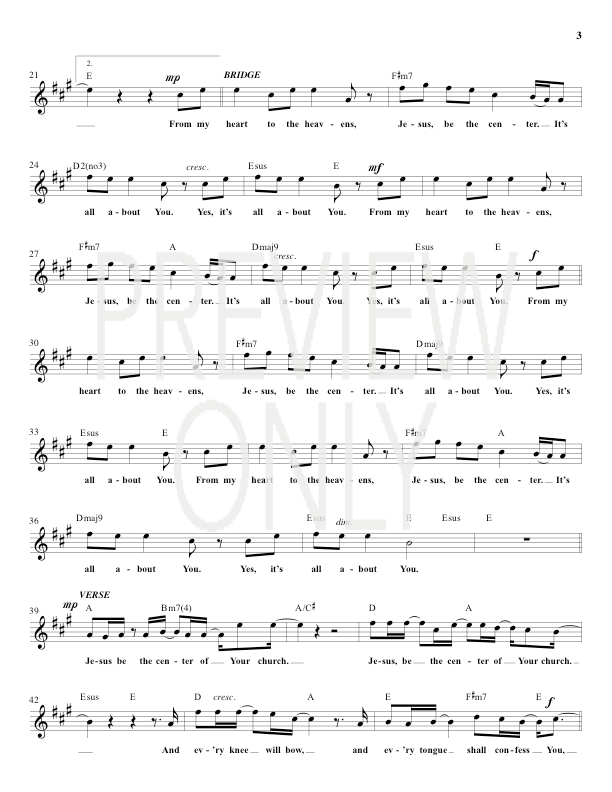 Jesus At The Center Lead Sheet Lyrics Chords Darlene Zschech
