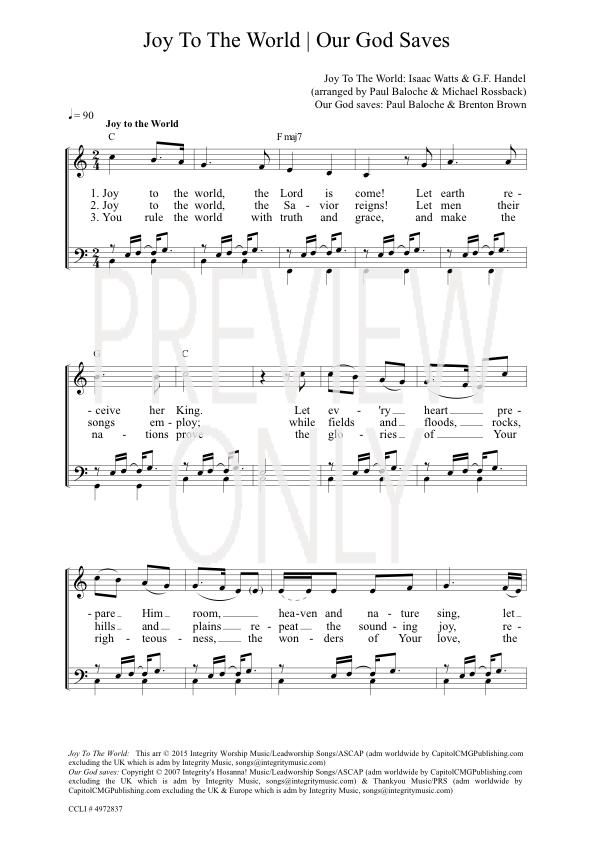 Joy To The World Our God Saves Lead Sheet Lyrics Chords Paul