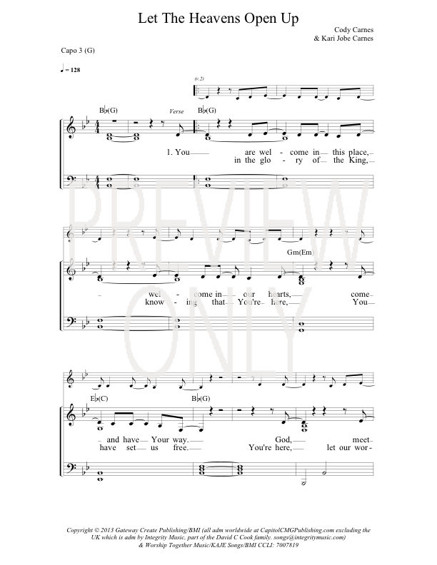 Let The Heavens Open Lead Sheet Lyrics Chords Gateway Worship