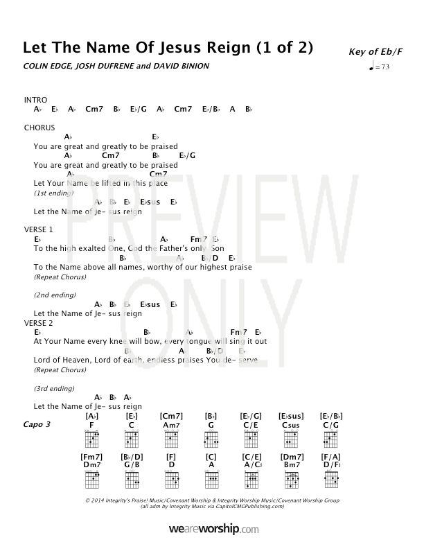 Let The Name Of Jesus Reign Lead Sheet Lyrics Chords Covenant