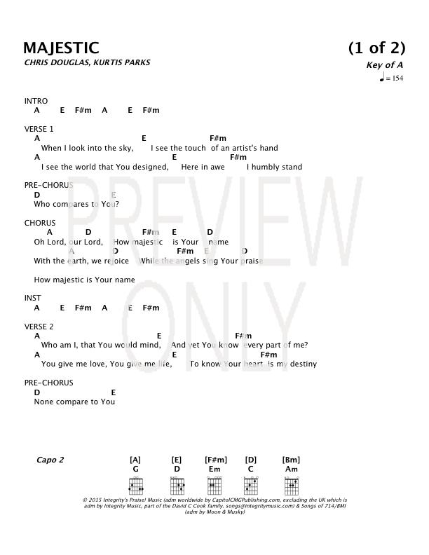 Majestic Lead Sheet, Lyrics, & Chords | NCC Worship | WorshipHouse Media