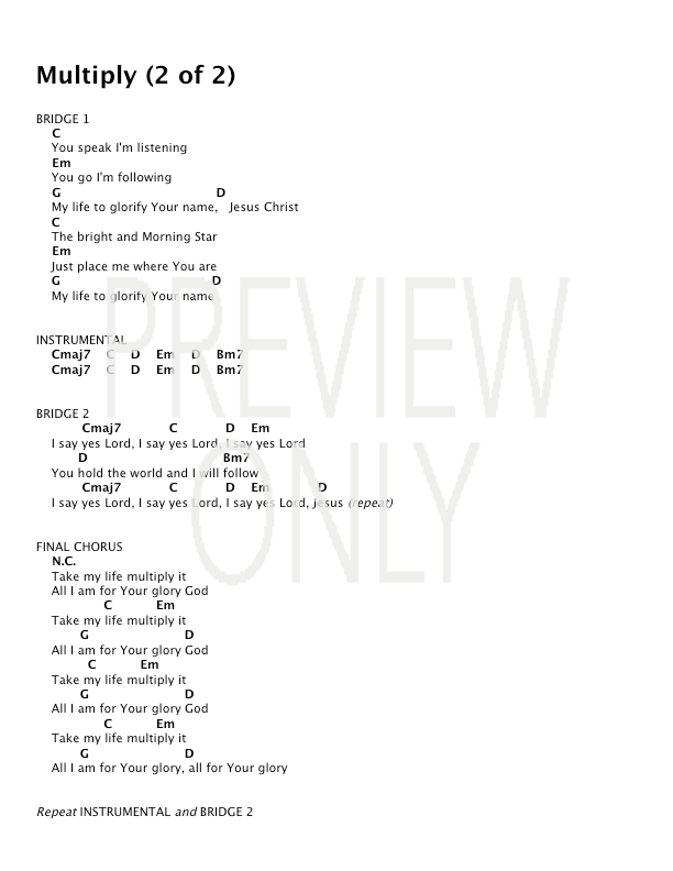 Multiply Lead Sheet Lyrics Chords Desperation Band