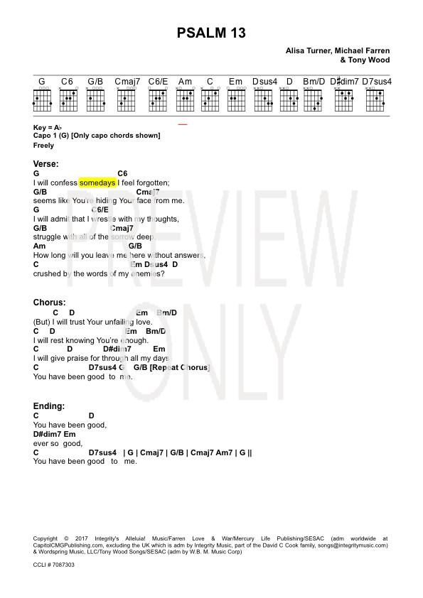 Psalm 13 Lead Sheet, Lyrics, & Chords | Alisa Turner | WorshipHouse ...