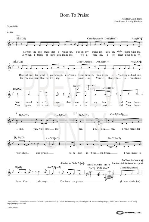 Born To Praise Lead Sheet Lyrics Chords Planetshakers