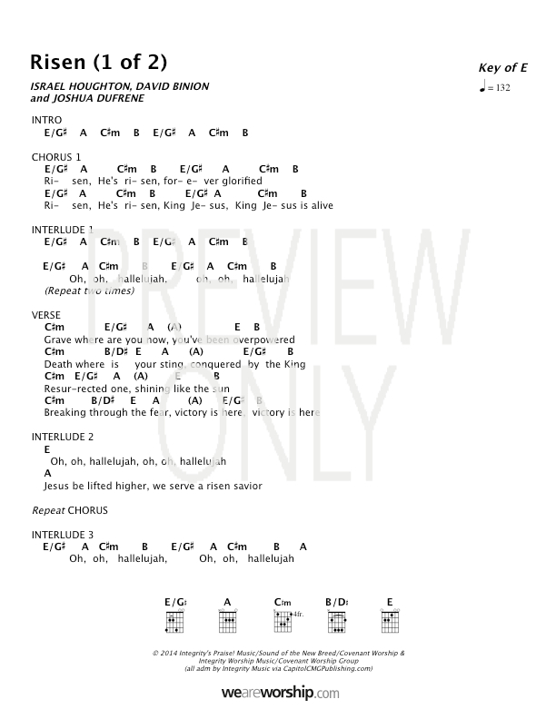 Lyric hallelujah square lyrics : Risen Lead Sheet, Lyrics, & Chords | Covenant Worship ...