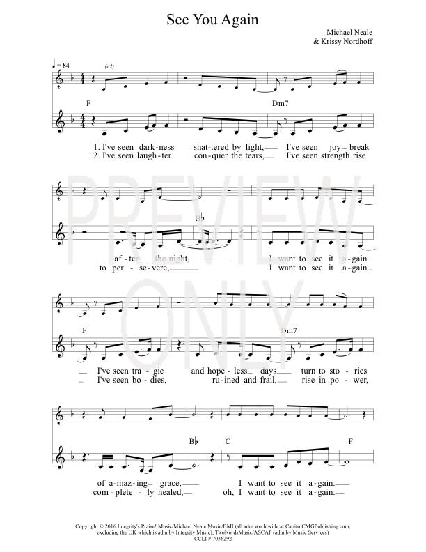 See You Again Lead Sheet Lyrics Chords Prestonwood Worship
