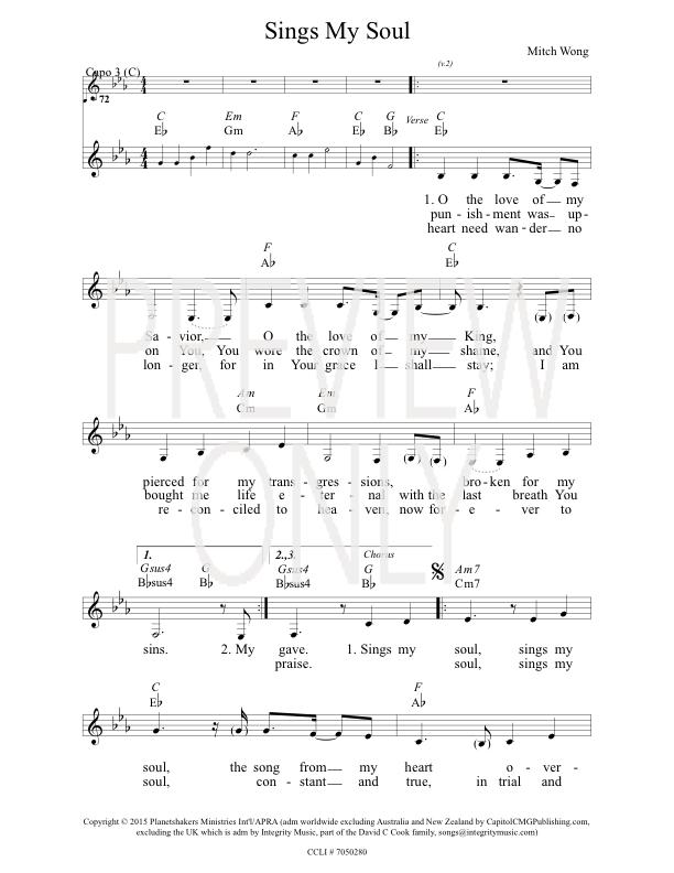 Sings My Soul Lead Sheet Lyrics Chords Planetshakers
