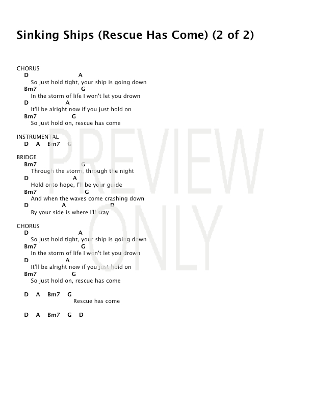 Sinking Ships Rescue Has Come Lead Sheet Lyrics Chords